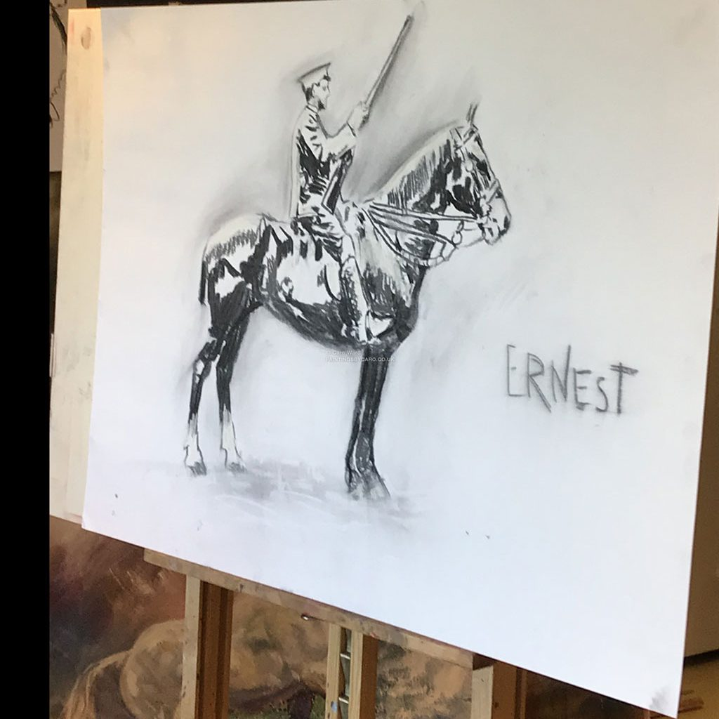 (SOLD) Ernest. Charcoal and Pastel Drawing. The last day of our tribute to the horse in WW1.