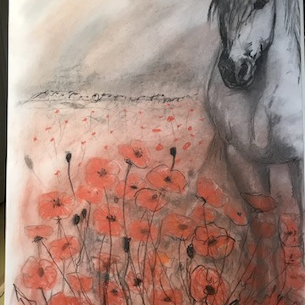 (SOLD) Poppies by the Barricade  Charcoal and Pastel Drawing