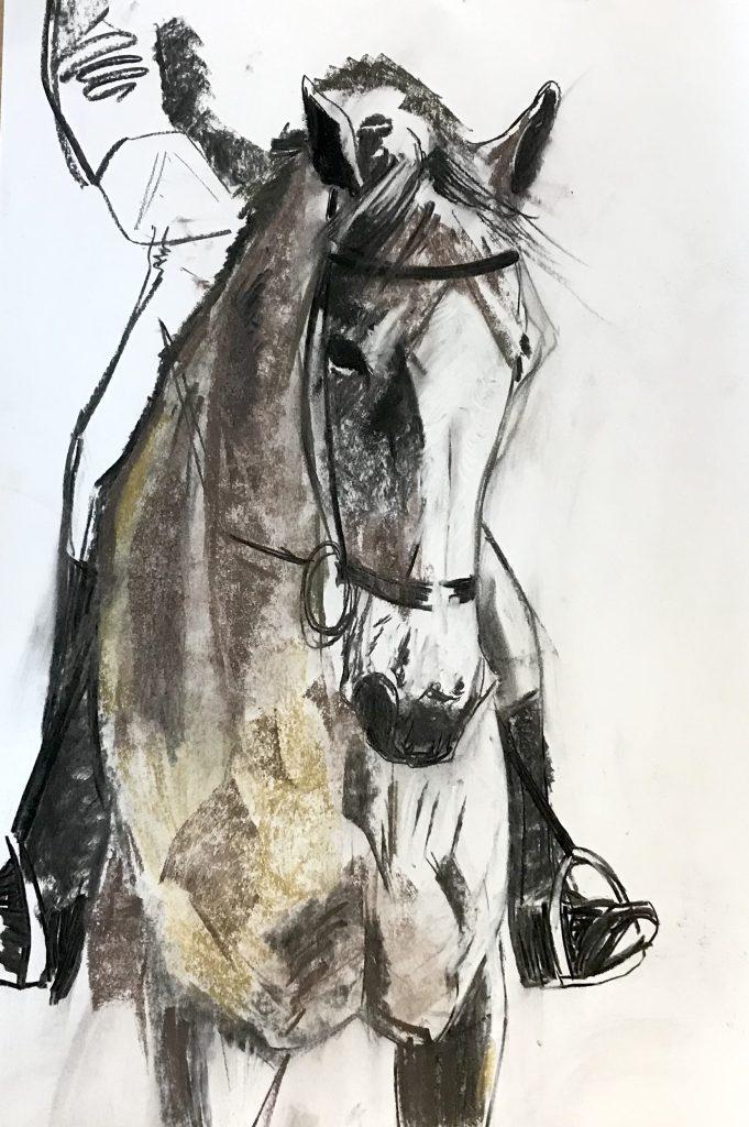 Dressage Chalk and Pastel Caro Ward 60 x 84 cm £250
