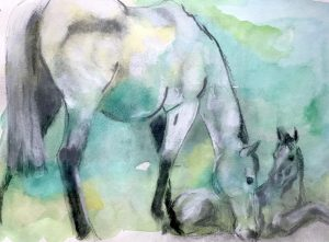 Mare-with-and-foal.-Caro-Ward-2020-29cmx19cm-Watercolour-and-chalk-1024x754