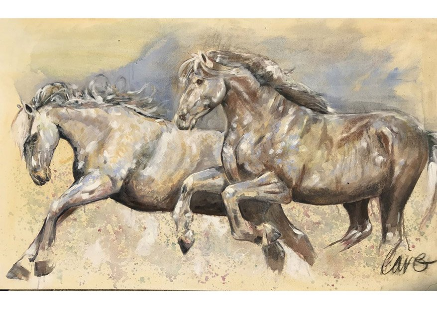 Sky Horses /Oil on Canvas /150 cm x 80 cm /In private collection